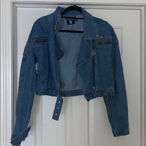 Crop Biker Zip Denim Jacket